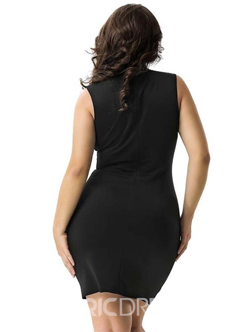 Ericdress Plus Size Above Knee Sleeveless Embroidery Bodycon Dress