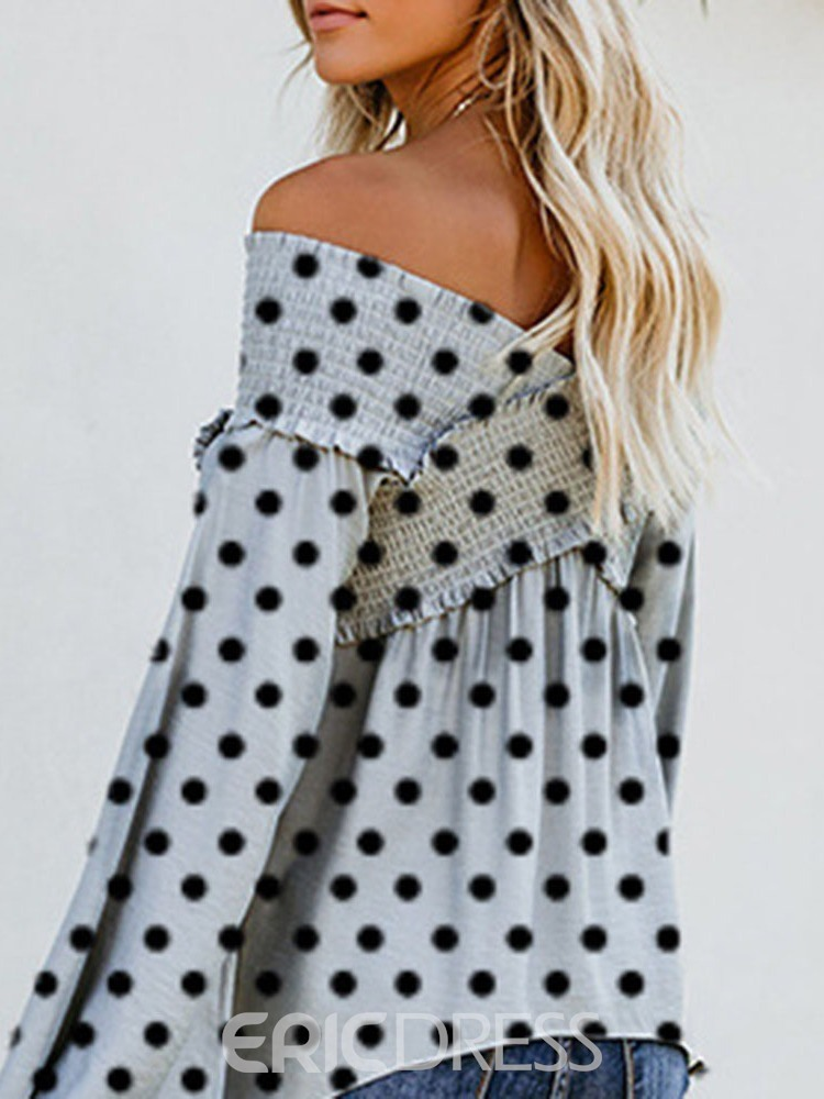 Ericdress Off Shoulder Polka Dots Flare Sleeve Long Sleeve Standard Blouse