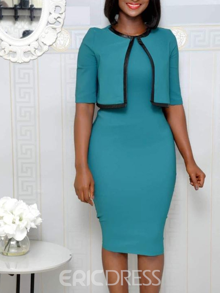 Ericdress Round Neck Knee-Length Half Sleeve Bodycon Dress