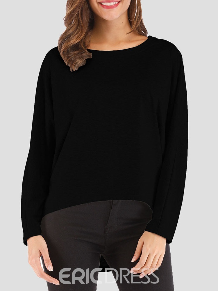 Ericdress Plain Round Neck Long Sleeve Casual Loose T-Shirt