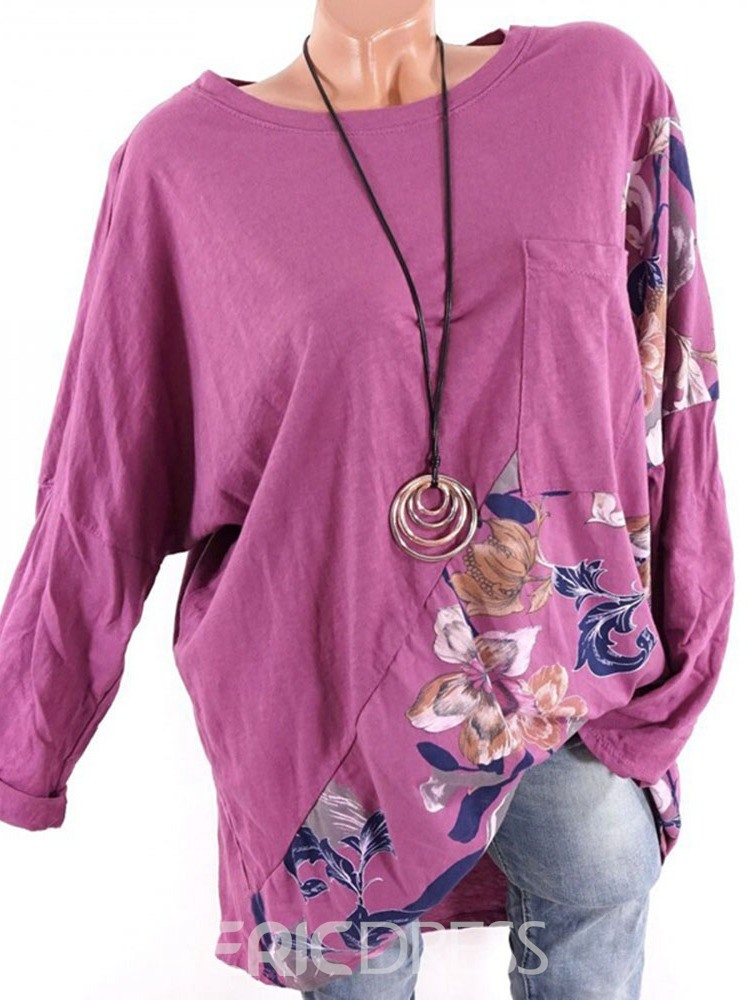 Ericdress Round Neck Long Sleeve Floral Loose Spring T-Shirt