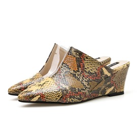 Ericdress Serpentine Pointed Toe Wedge Heel Women's Mules Shoes