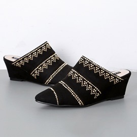 Ericdress Faux Suede Wedge Heel Pointed Toe Women's Mules Shoes