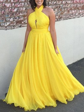 Ericdress A-Line Halter Backless Prom Dress