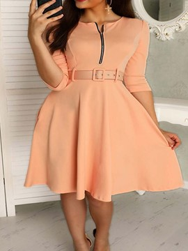 Ericdress Belt Half Sleeve Knee-Length Plain Fashion Dress