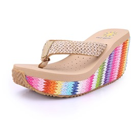 Ericdress Color Block Thong Woven Wedge Heel Women's Slippers