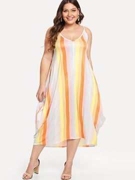 Ericdress Plus Size Print Sleeveless V-Neck Expansion Regular Dress