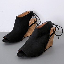 Ericdress Faux Suede Strappy Lace-Up Peep Toe Women's Sandals