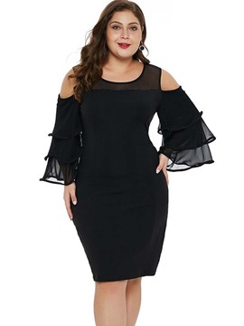 Ericdress Plus Size Knee-Length Patchwork Long Sleeve Ruffle Sleeve Bodycon Dress