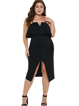 Ericdress Plus Size Split Sleeveless Mid-Calf Cocktail High Waist Dress
