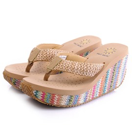 Ericdress Thong Woven Wedge Heel Women's Slippers
