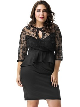 Ericdress Above Knee Plus Size Suspenders Plain Bodycon Dress