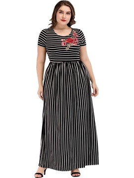 Ericdress Plus Size Short Sleeve Embroidery Round Neck Standard-Waist Going Out Dress