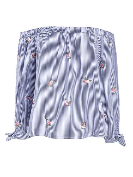 Ericdress Stripe Embroidery Off Shoulder Plus Size Blouse