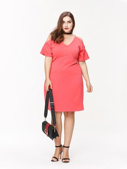 Ericdress Plus Size V-Neck Knee-Length Short Sleeve Plain Travel Look Dress