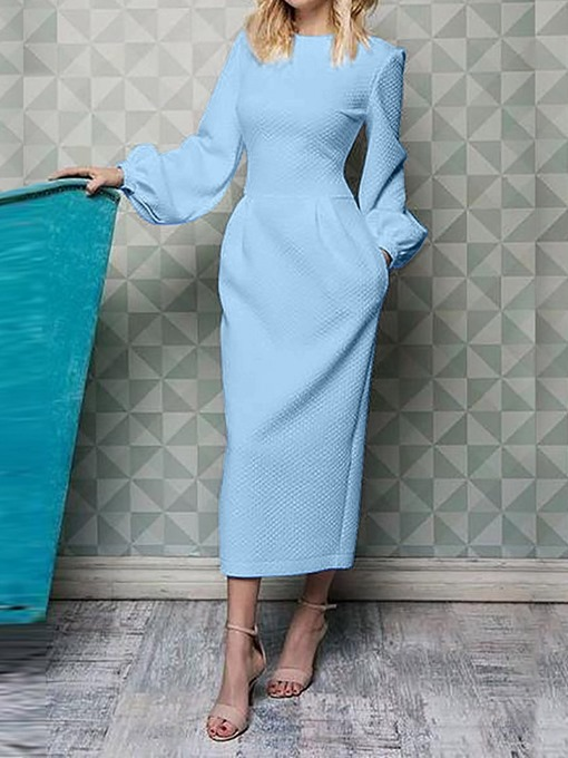 Ericdress Long Sleeve Ankle-Length Round Neck A-Line Lantern Sleeve Dress