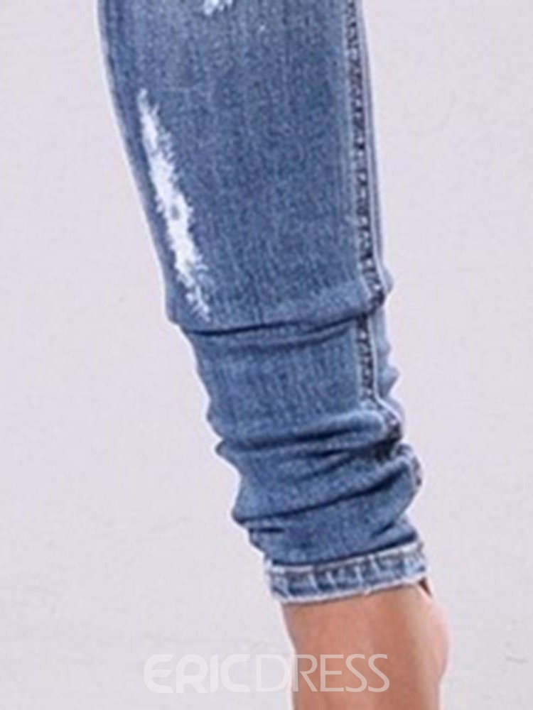 Ericdress Plain Ripped Washable Slim Jeans