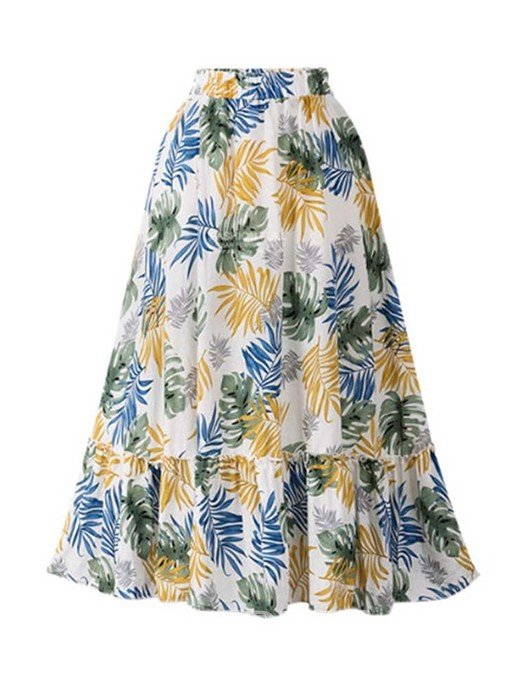 Ericdress Plus Size Floral Patchwork A-Line High Waist Travel Look Skirt