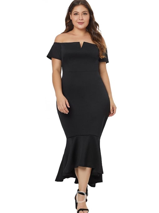 Ericdress Plus Size Asymmetric Off Shoulder Short Sleeve High Waist Cocktail Dress