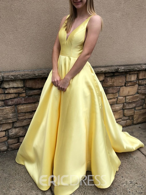 Ericdress A-Line Floor-Length V-Neck Evening Dress 2019