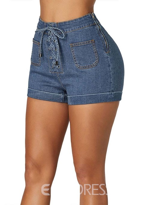 Ericdress Lace-Up Plain Mid Waist Slim Shorts