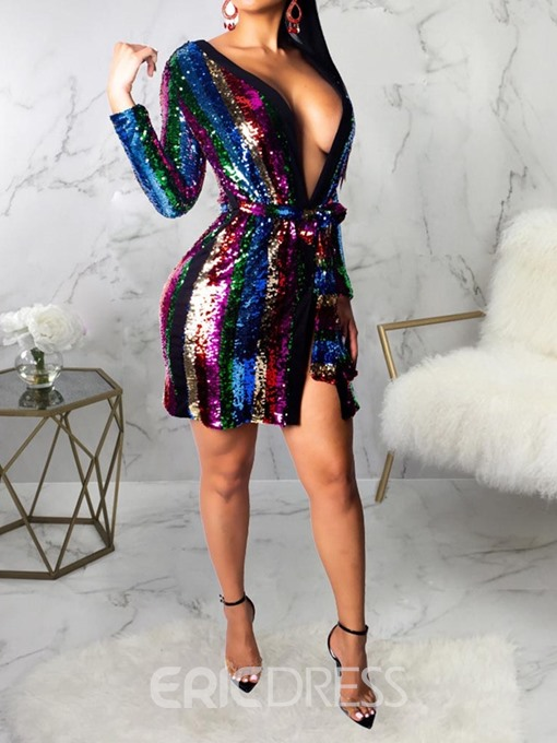 Ericdress Lace-Up Long Sleeve V-Neck Sequins Bodycon Dress
