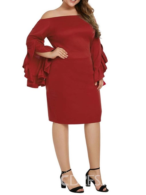 Ericdress Knee-Length Off Shoulder Long Sleeve Flare Sleeve Plus Size Dress