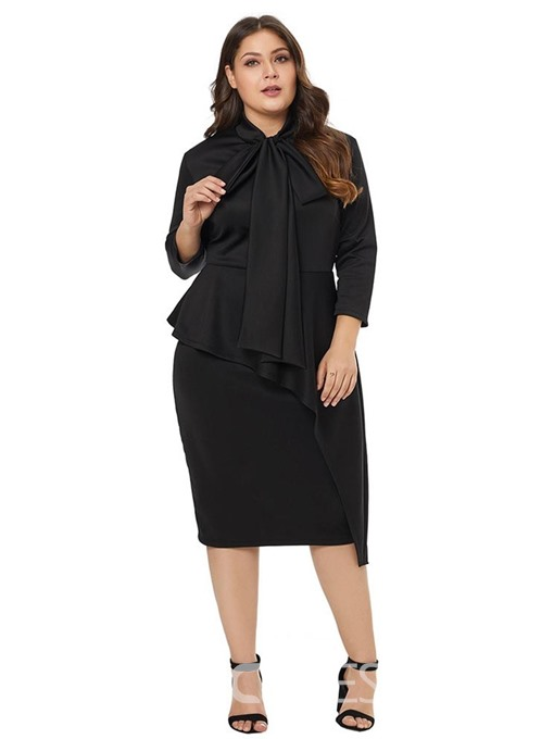 Ericdress Plus Size Three-Quarter Sleeve Asymmetric Mid-Calf High Waist Pullover Dress