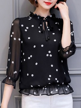 Ericdress Stringy Selvedge Polka Dots Stand Collar Standard Three-Quarter Sleeve Blouse