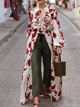 Ericdress Floral Print Lantern Sleeve Long Long Sleeve Blouse
