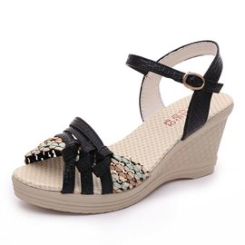 Ericdress PU Color Block Wedge Heel Ankle Strap Women's Sandals