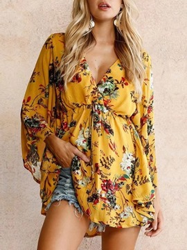 Ericdress Print Floral V-Neck Loose Blouse