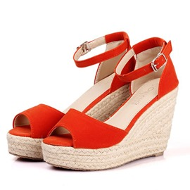 Ericdress Faux Suede Plain Ankle Strap Wedge Heel Women's Sandals