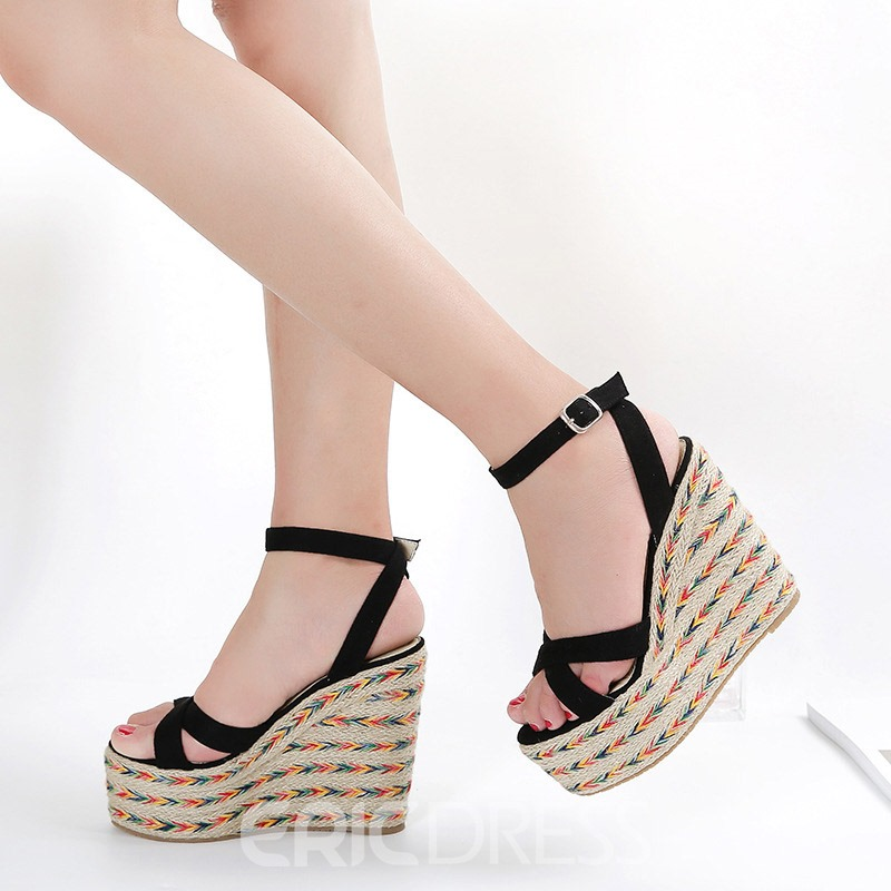 Ericdress Faux Suede Ankle Strap Wedge Heel Women's Sandals