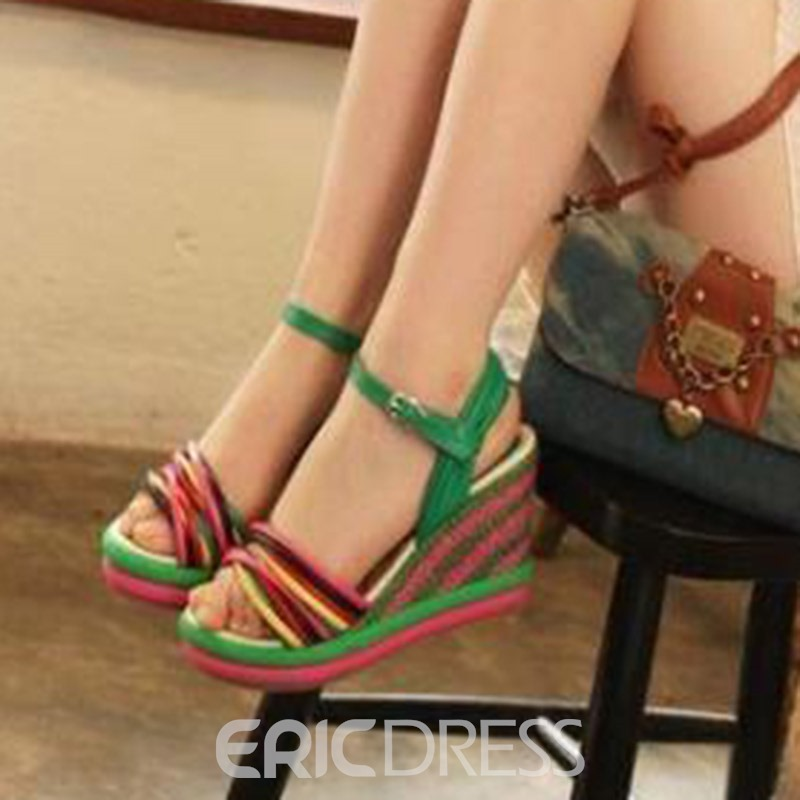 Ericdress PU Color Block Wedge Heel Women's Sandals