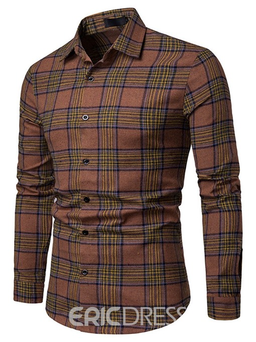 Ericdress Plaid Striped Single-Breasted Mens Casual Shirt