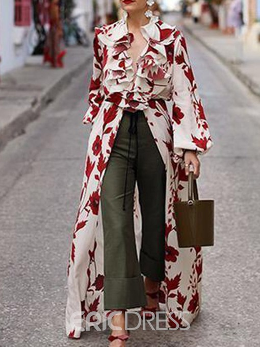 Ericdress Floral Print Lantern Sleeve Long Blouse