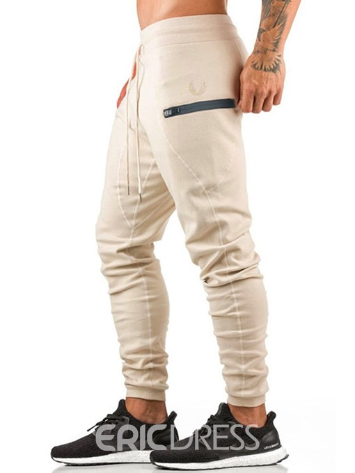 Ericdress Plain Zipper Mid Waist Mens Casual Sports Pants