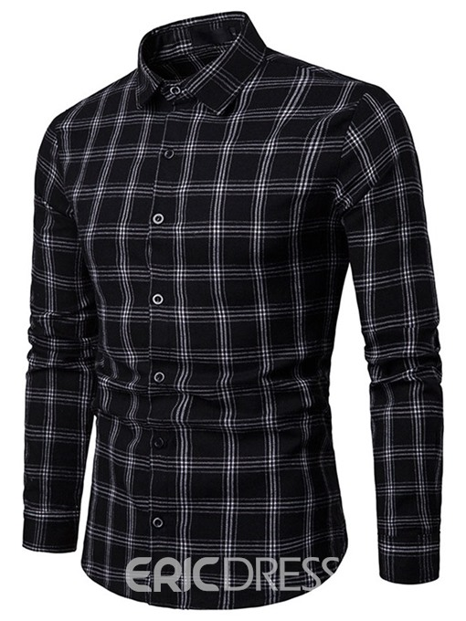 Ericdress Lapel Plaid Button Up Single-Breasted Mens Casual Shirt