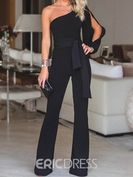 Ericdress Full Length Office Lady Lace-Up Straight Slim Jumpsuit