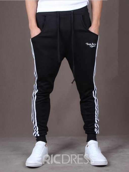 Ericdress Printed Side Stripeed Mens Lace-Up Casual Pants