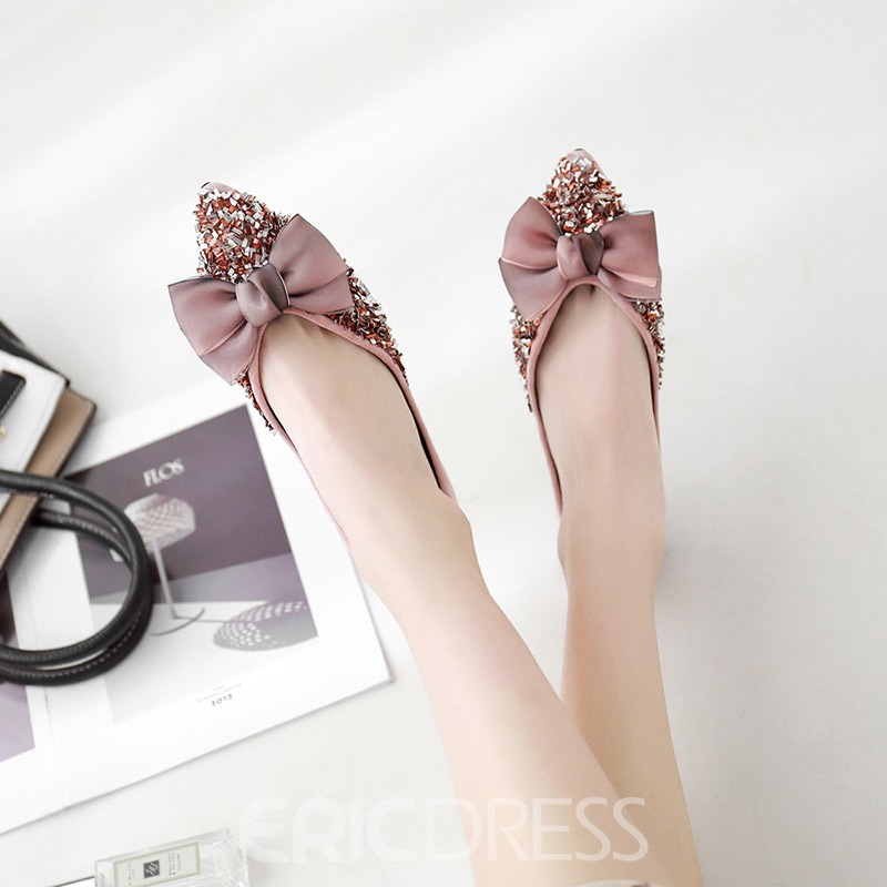 Ericdress Bow Sequin Slip-On Pointed Toe Women's Flats