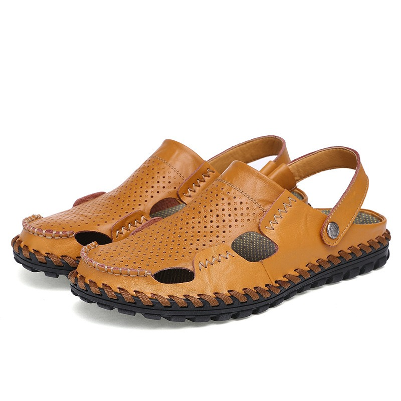 Ericdress Plain Hollow Slip-On Men's Sandals