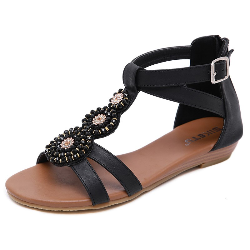 Ericdress PU Beads Zipper Heel Covering Wedge Heel Women's Sandals