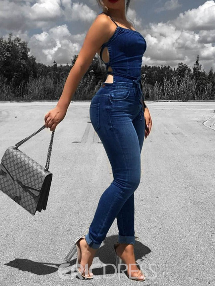Ericdress Strap Backless Plain Denim High Waist Jumpsuit