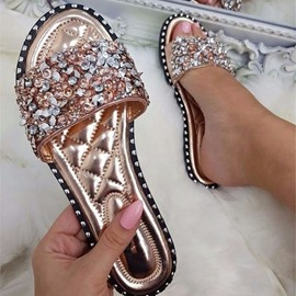 Ericdress Rhinestone PU Slip-On Women's Slippers