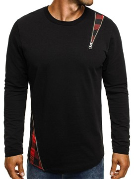 Ericdress Patchwork Zipper Round Neck Long Sleeve Mens T-shirt