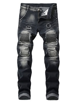 Ericdress Worn Straight Mid Waist Mens Casual Ripped Jeans