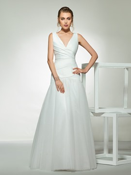 Ericdress Simple Pleats Trumpet Wedding Dress