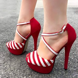 Ericdress Stripe Peep Toe Stiletto Heel Women's Sandals